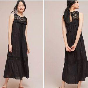 Anthropologie Abilene Crochet Maxi Dress Black SM